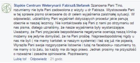 Śląskie Centrum Weterynarii Fabisz & Stefanek. Przychodnia Weterynaryjna opinie